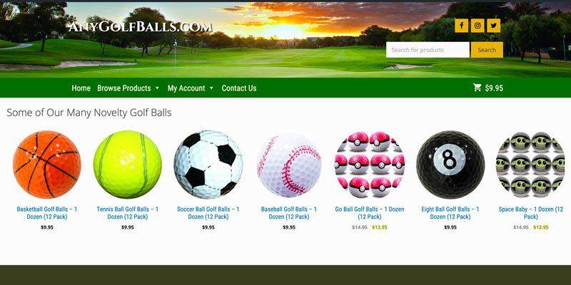 anygolfballs.com scene shot of website